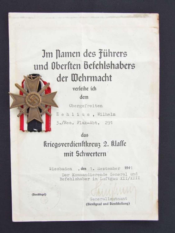War Merit Cross Second Class With Luftwaffe Award Certificate