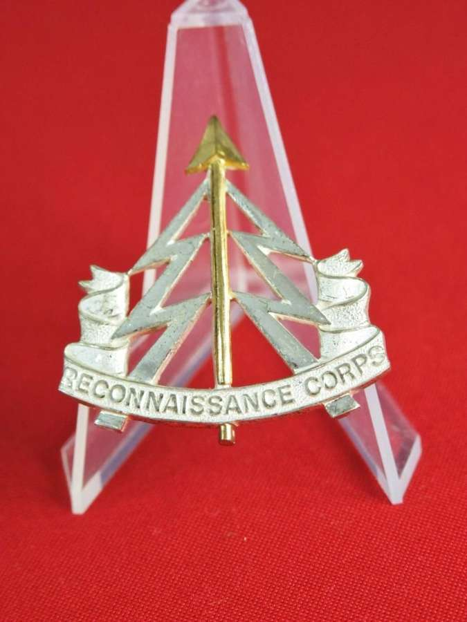 Reconnaissance Corps Officer's Beret Badge in silvered white  and gilded metal
