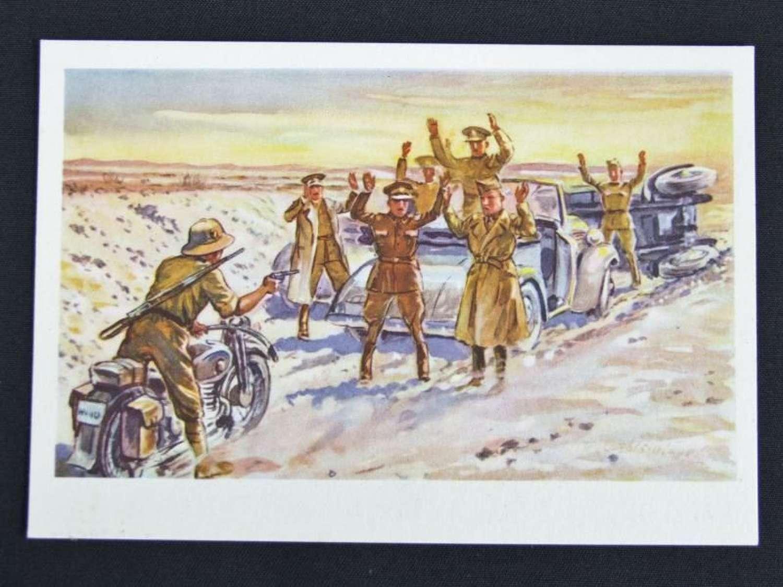 Coloured  Propaganda Postcard - Wustenkrieg in Nord Afrika