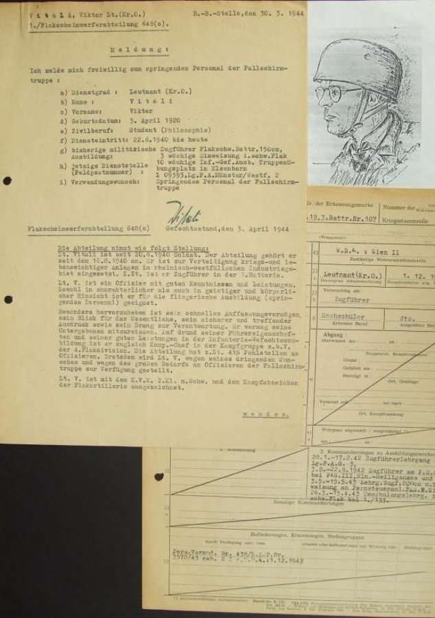 Documents To a Fallschirmjager Knights Cross Winner with Signature