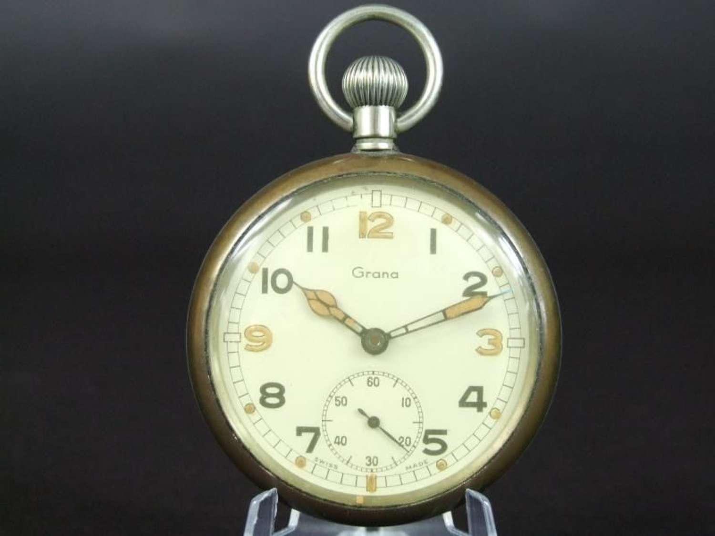 British WW11 Military Pocket Watch by Grana