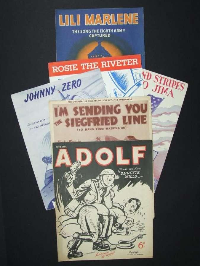 6 Original Wartime Music Sheets