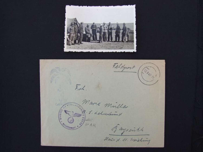Afrika Korps Felpost Envelope with rare Palmstempel