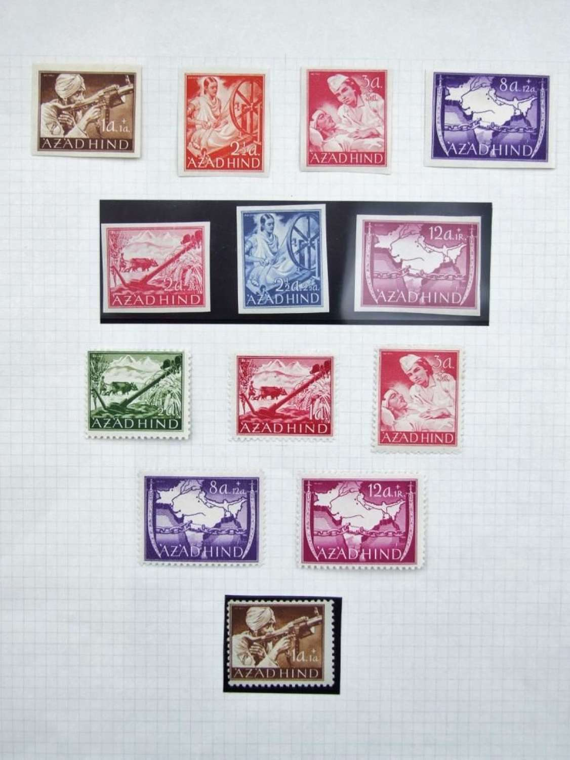 A collection of 13 Azad Hind stamps