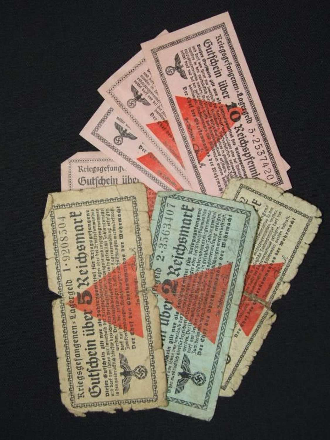 A collection of 8 Lagergeld  (Camp Money) notes