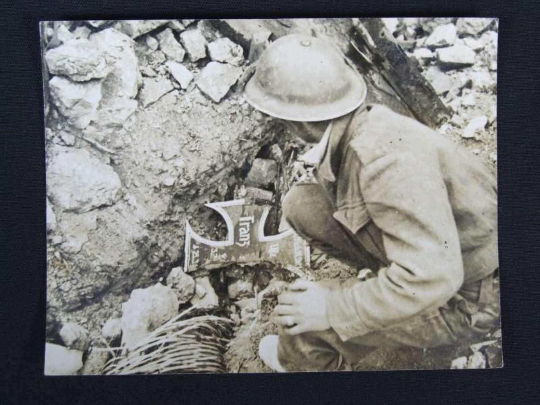 Official War Photograph. Fallshirmjager Grave Marker