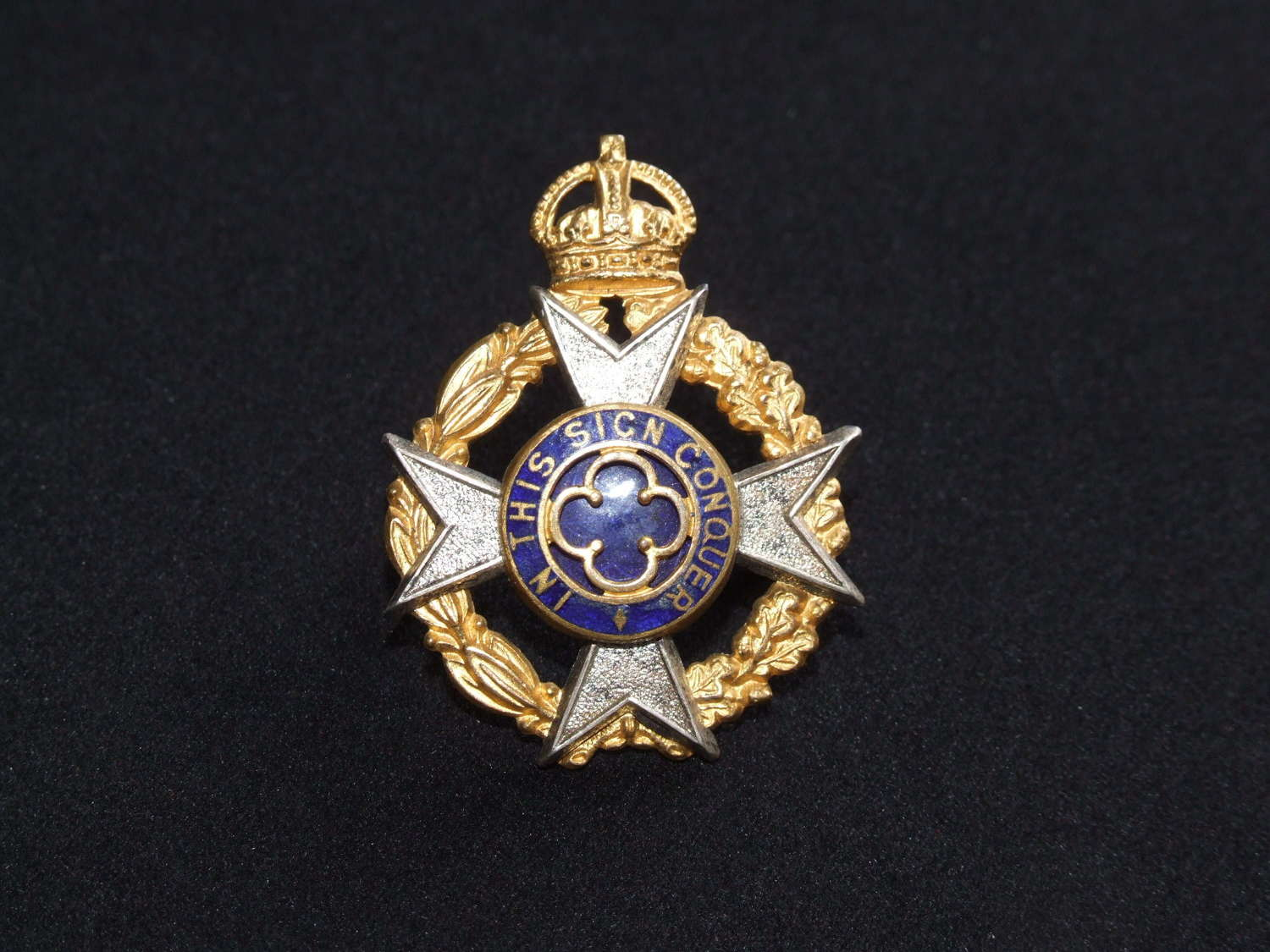 Army Chaplain's King's Crown Cap Badge by Gaunt