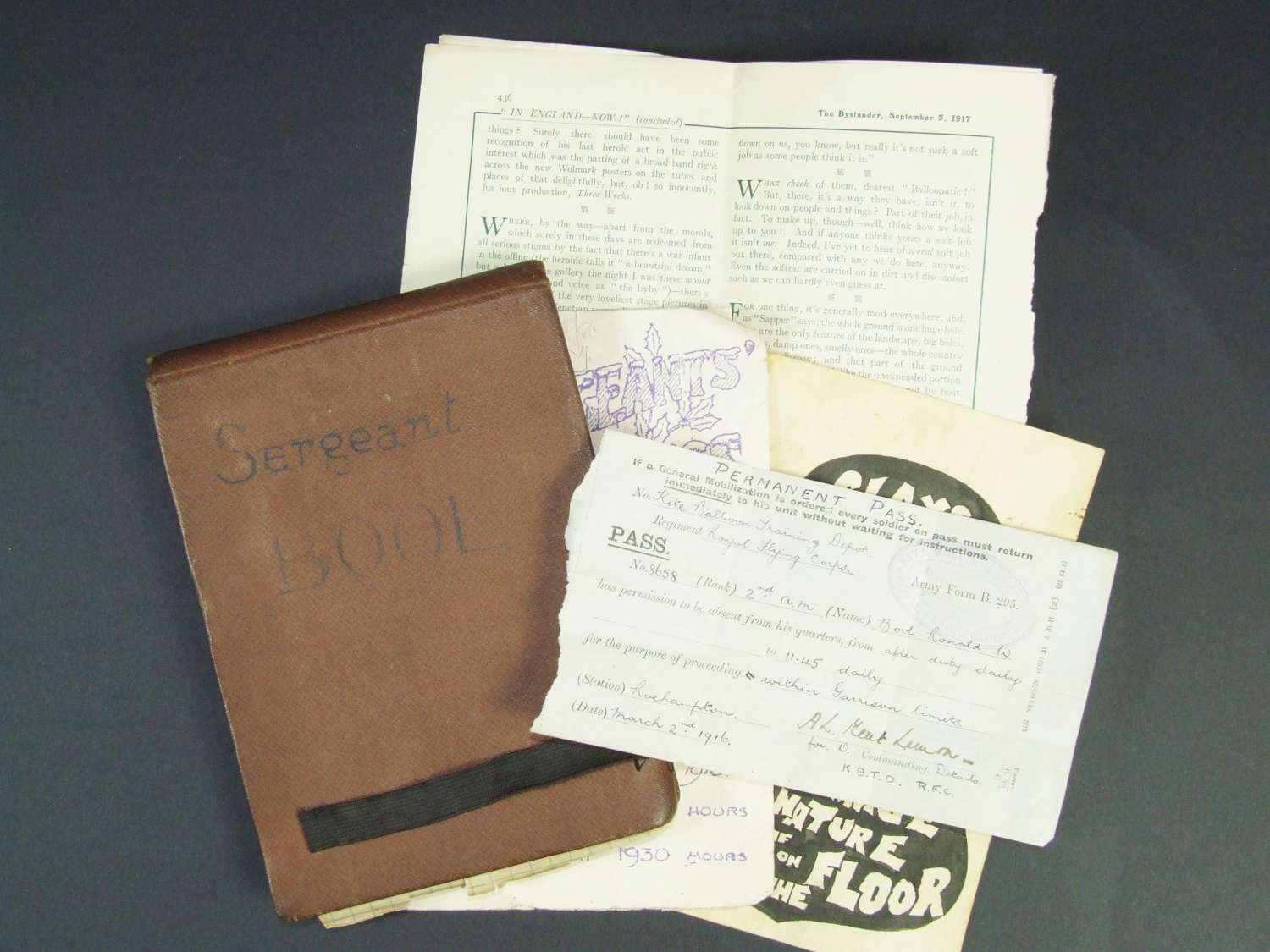 RFC Balloon Kite Observer's Log Book and Papers