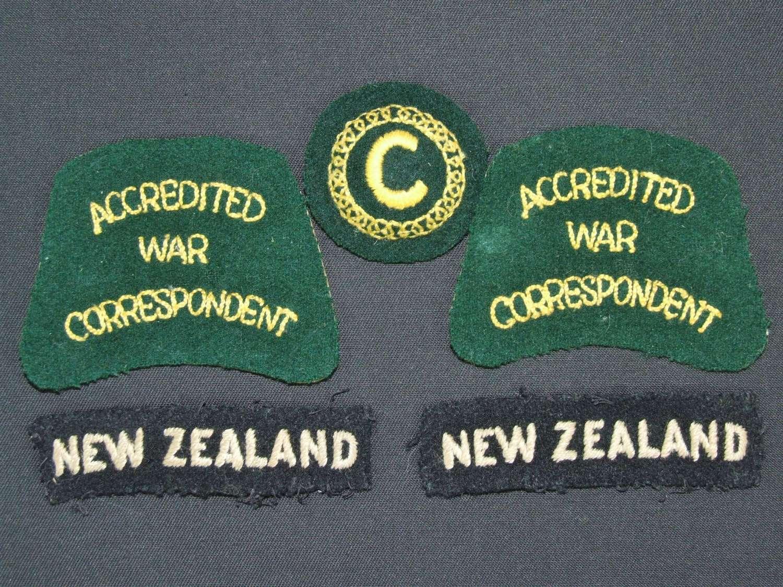New Zealand War Correspondent Insignia Set