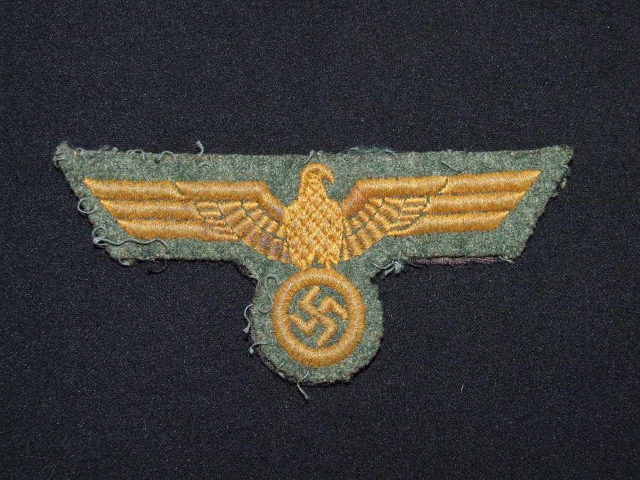Kriegsmarine Coastal Artillery Breast Eagle in Cotton Thread